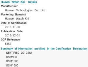huawei watch kid certificate