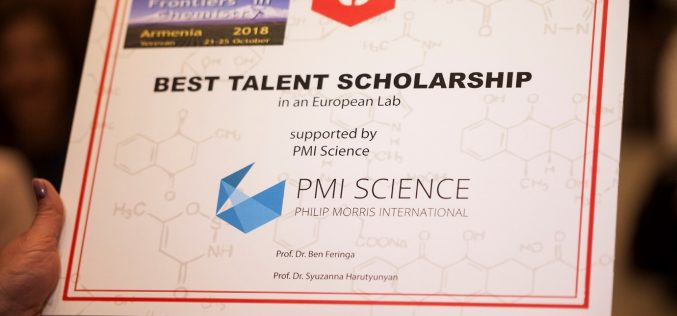 "NOBEL PRIZE WINNER AWARDS ARMENIAN CHEMIST WITH ""THE BEST TALENT"" SCOLARSHIP SUPPORTED BY PMI SCIENCE"