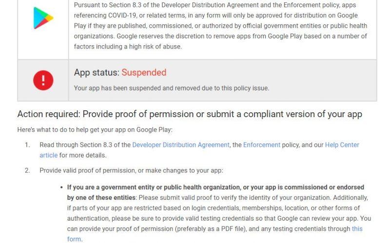Google Play-ից հավելված են ջնջել՝ կորոնավիրուսի մասին հիշատակումների համար