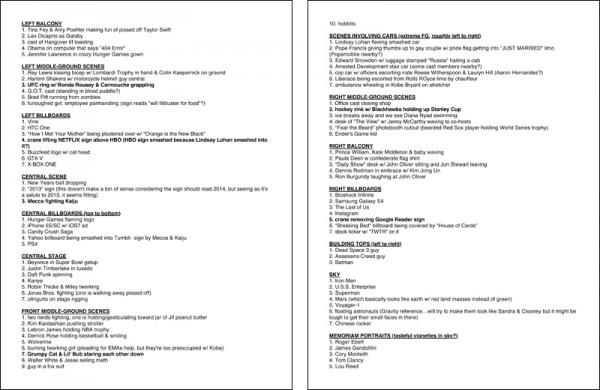 list of scenes